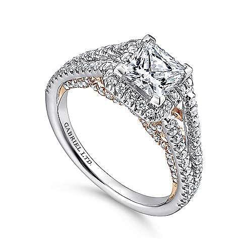 Susanna 18k White And Rose Gold Princess Cut Halo Engagement Ring angle 3
