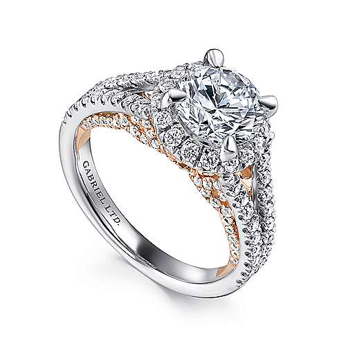Susanna 18k White And Rose Gold Round Halo Engagement Ring angle 3
