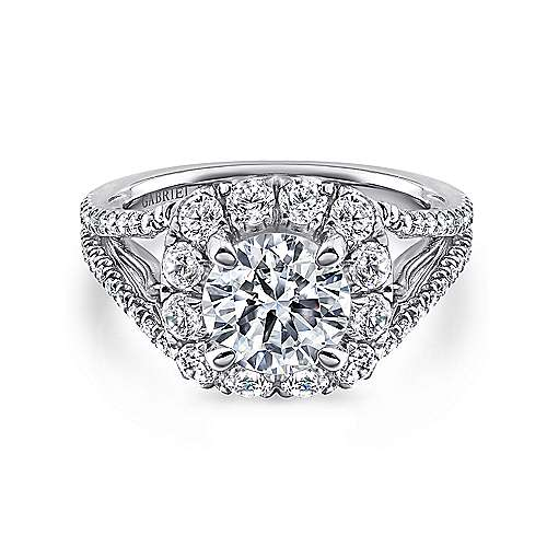 Gabriel - Susanna 18k White Gold Round Halo Engagement Ring
