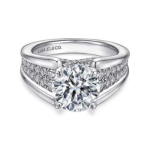 Sutter 18k White Gold Round Straight Engagement Ring