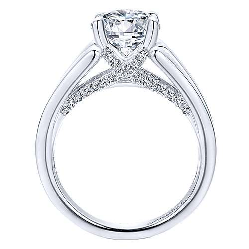 Sutter 18k White Gold Round Straight Engagement Ring angle 2
