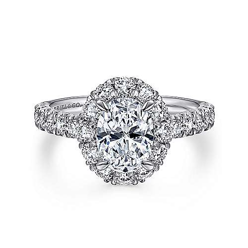 Sutton 14k White Gold Oval Halo Engagement Ring angle 1