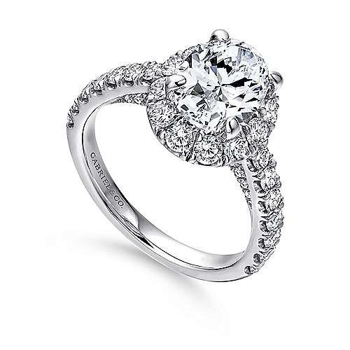 Sutton 14k White Gold Oval Halo Engagement Ring angle 3
