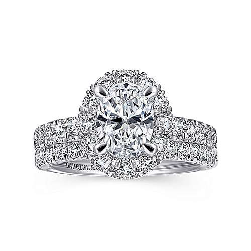 Sutton 14k White Gold Oval Halo Engagement Ring angle 4