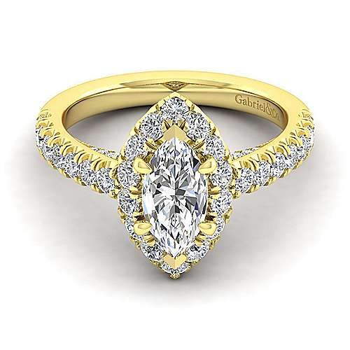Sutton 14k Yellow Gold Marquise  Halo Engagement Ring angle 1