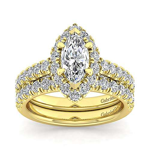 Sutton 14k Yellow Gold Marquise  Halo Engagement Ring angle 4