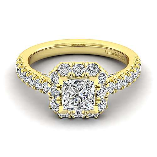 Sutton 14k Yellow Gold Princess Cut Halo Engagement Ring angle 1