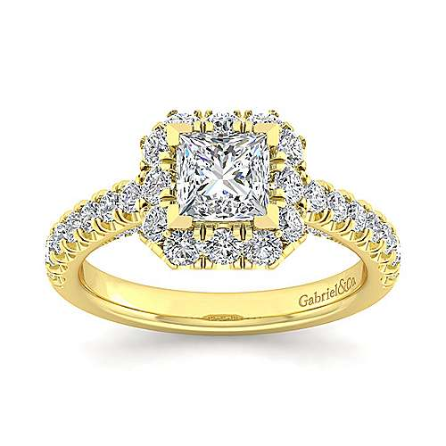 Sutton 14k Yellow Gold Princess Cut Halo Engagement Ring angle 5