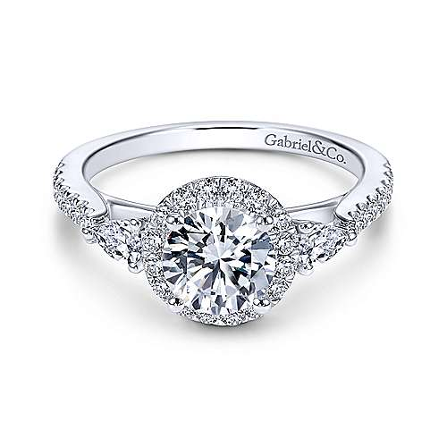 Gabriel - Suzanne 14k White Gold Round 3 Stones Halo Engagement Ring