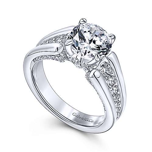 Swan 18k White Gold Round Straight Engagement Ring angle 3