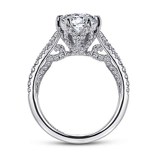 Sweet Pea 18k White Gold Round Split Shank Engagement Ring angle 2