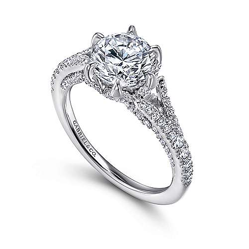 Sweet Pea 18k White Gold Round Split Shank Engagement Ring angle 3