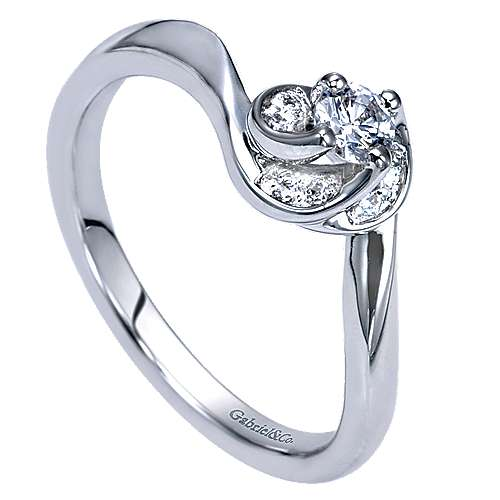 Swoon 14k White Gold Round Bypass Engagement Ring angle 3