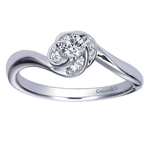 Swoon 14k White Gold Round Bypass Engagement Ring angle 5