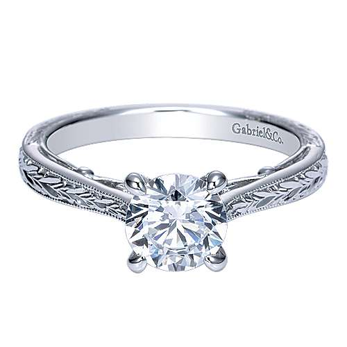 Gabriel - Sybil 14k White Gold Round Straight Engagement Ring