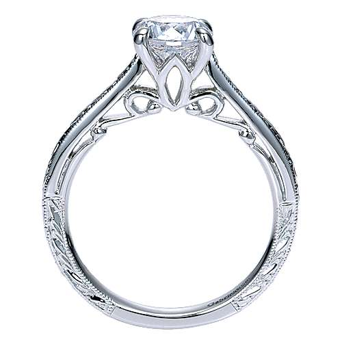 Sybil 14k White Gold Round Straight Engagement Ring angle 2