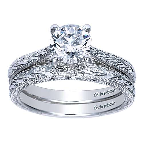 Sybil 14k White Gold Round Straight Engagement Ring angle 4