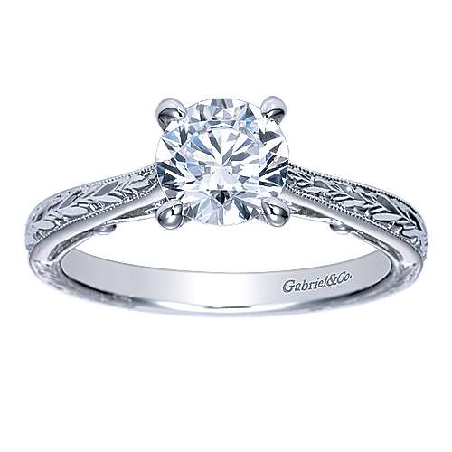 Sybil 14k White Gold Round Straight Engagement Ring angle 5