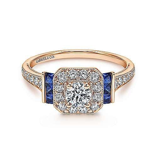 Sylvia 14k Rose Gold Round Halo Engagement Ring angle 1