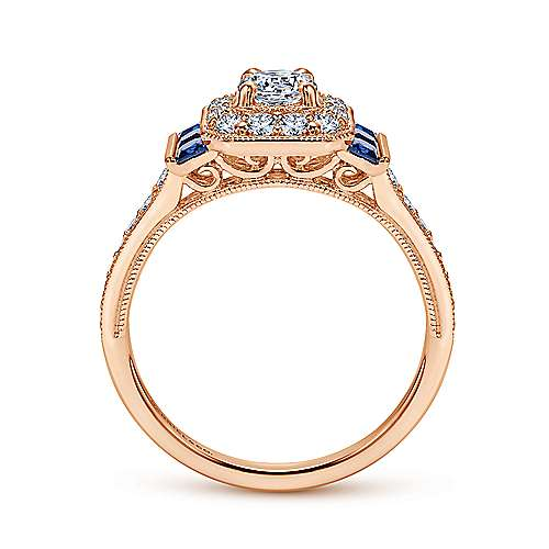 Sylvia 14k Rose Gold Round Halo Engagement Ring angle 2