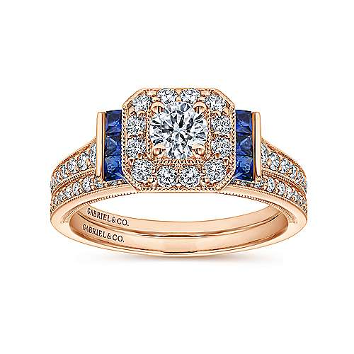 Sylvia 14k Rose Gold Round Halo Engagement Ring angle 4