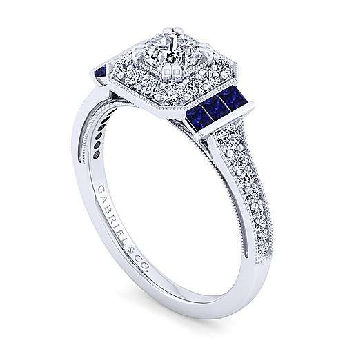 Sylvia 14k White Gold Cushion Cut Halo Engagement Ring angle 3