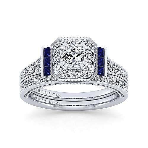 Sylvia 14k White Gold Cushion Cut Halo Engagement Ring angle 4