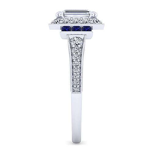 Sylvia 14k White Gold Emerald Cut Halo Engagement Ring angle 5