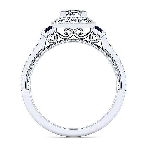 Sylvia 14k White Gold Princess Cut Halo Engagement Ring angle 2