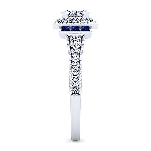 Sylvia 14k White Gold Princess Cut Halo Engagement Ring angle 5