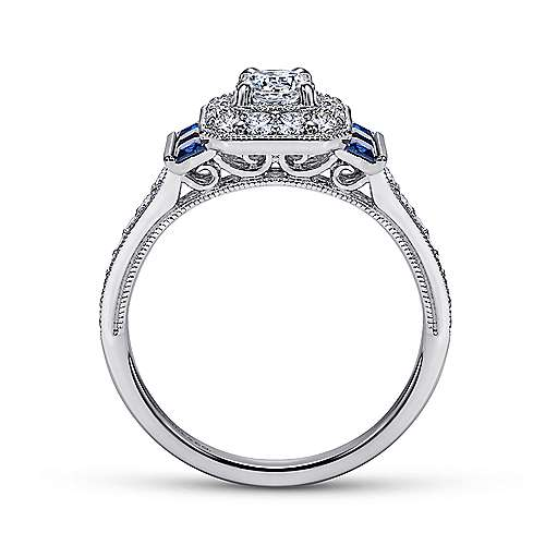 Sylvia 14k White Gold Round Halo Engagement Ring angle 2
