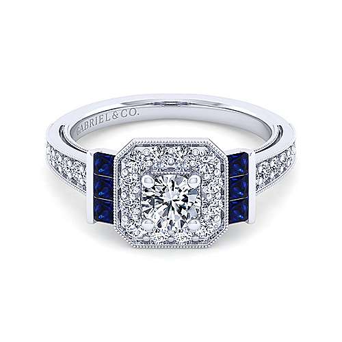 Sylvia 14k White Gold Round Halo Engagement Ring angle 1