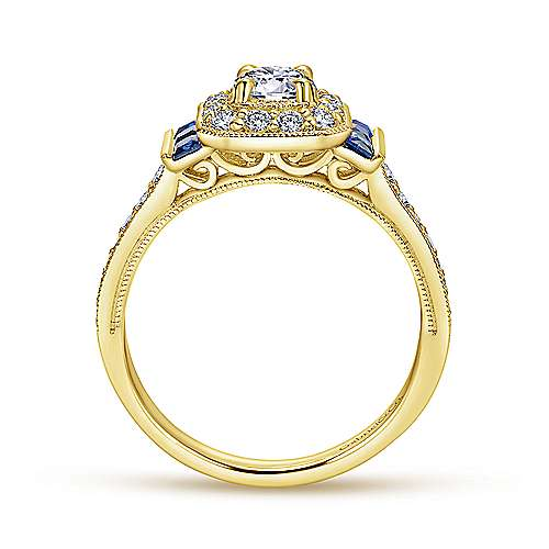 Sylvia 14k Yellow Gold Round Halo Engagement Ring angle 2
