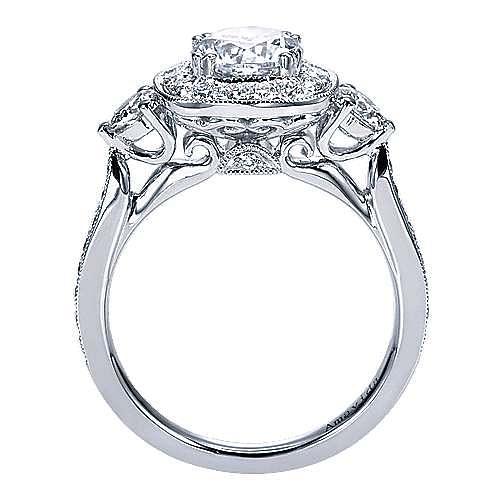 Symphony 18k White Gold Round Halo Engagement Ring angle 2