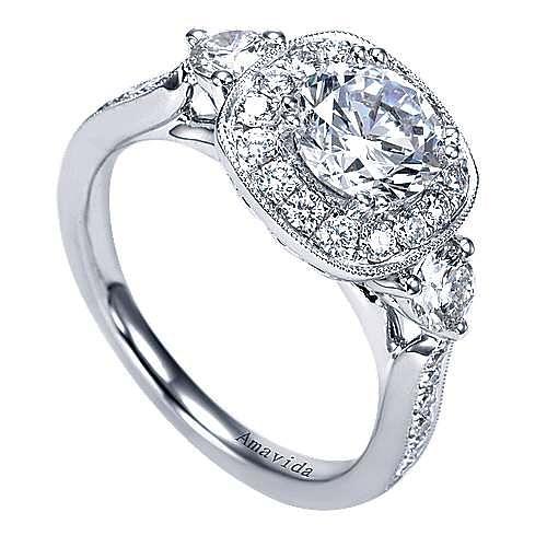 Symphony 18k White Gold Round Halo Engagement Ring angle 3