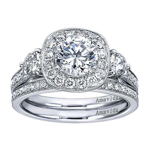 Symphony 18k White Gold Round Halo Engagement Ring angle 4