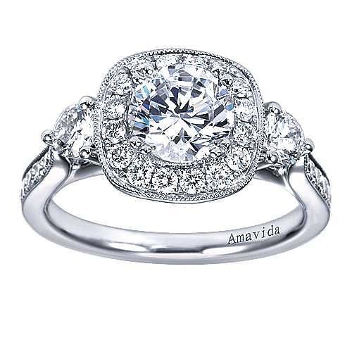 Symphony 18k White Gold Round Halo Engagement Ring angle 5