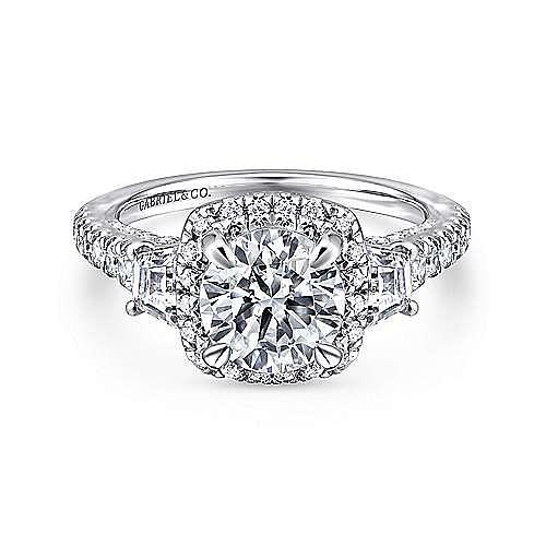 Gabriel - Tabassum 18k White Gold Round Halo Engagement Ring