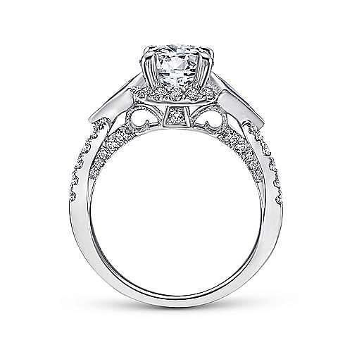 Tabitha 18k White Gold Round 3 Stones Halo Engagement Ring angle 2