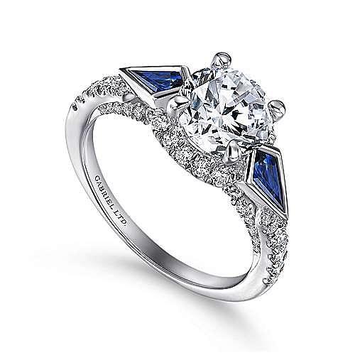 Tabitha 18k White Gold Round 3 Stones Halo Engagement Ring angle 3
