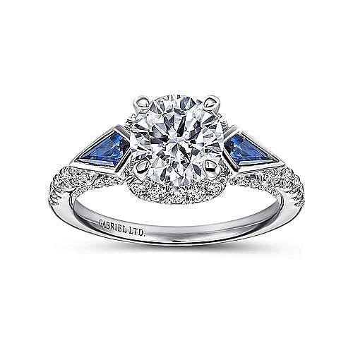 Tabitha 18k White Gold Round 3 Stones Halo Engagement Ring angle 5