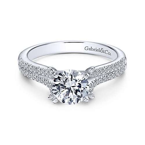 Gabriel - Talisa 14k White Gold Round Split Shank Engagement Ring