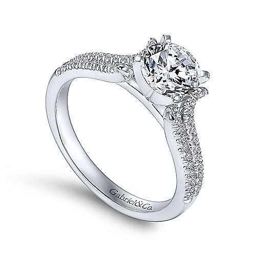 Talisa 14k White Gold Round Split Shank Engagement Ring angle 3