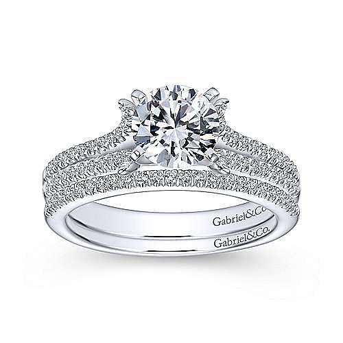 Talisa 14k White Gold Round Split Shank Engagement Ring angle 4