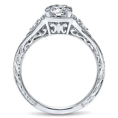 Tallulah Platinum Round 3 Stones Engagement Ring angle 2