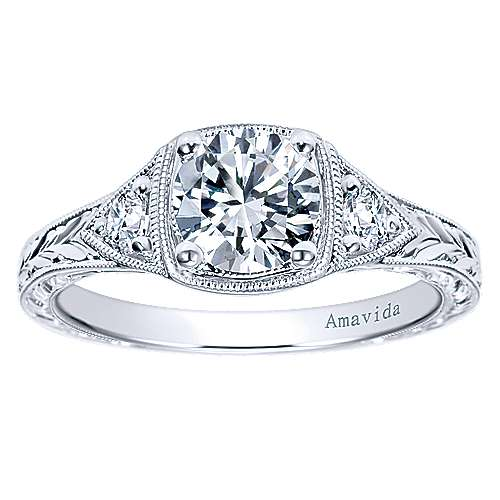 Tallulah Platinum Round 3 Stones Engagement Ring angle 5