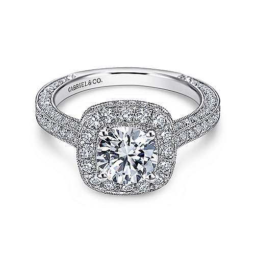 Gabriel - Tally 14k White Gold Round Halo Engagement Ring