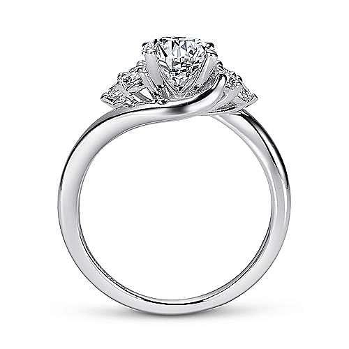 Tamara 14k White Gold Round Bypass Engagement Ring angle 2