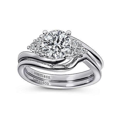 Tamara 14k White Gold Round Bypass Engagement Ring angle 4