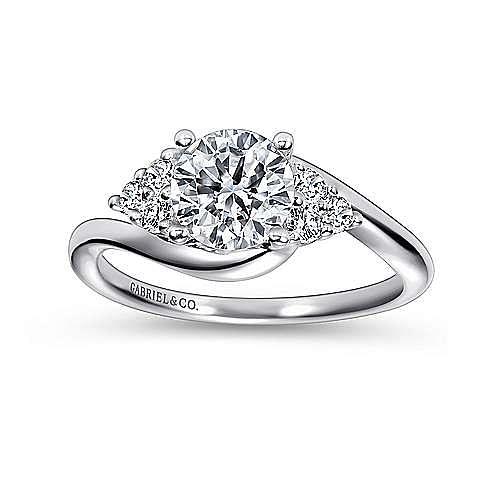 Tamara 14k White Gold Round Bypass Engagement Ring angle 5